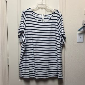 Navy blue and white T-shirt